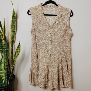 • VINTAGE • floral button down short sleeve romper